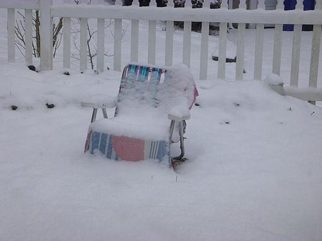 Beach chair in snow