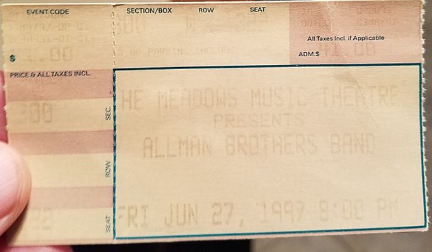 My very faded ticket for The Allman Bros. Band concert at The Meadows 6/27/97