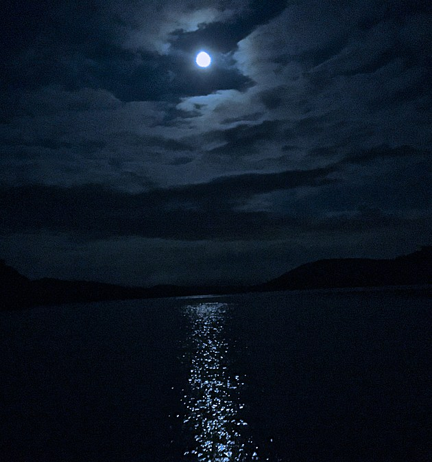 Cruising on the Pontoon from Sherman to New Fairfield by Moonlight - Ethan Photo